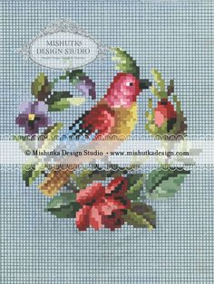 This pattern is based on an antique 19th century Berlin wool work design. A bright, colorful parrot is perched on a small wreath of violets and roses. Watermarks are in the online image only. Stitc…
