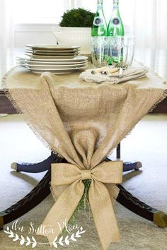Easy No Sew Burlap Runner perfect for rustic wedding table decor | Tied on the end with a lovely burlap bow | On Sutton Place