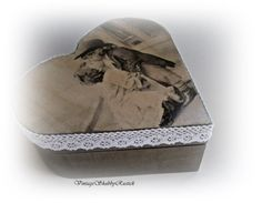 Vintage Decoupaged Box. Heart shaped Box. by VintageShabbyRustick