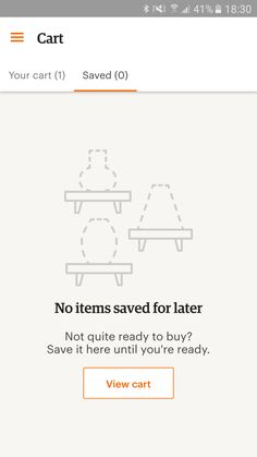 """""""No items saved for later"""" in Etsy for Android"""