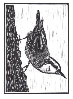 Little Nuthatch Linocut Relief Print, Hand Pulled Fine Art, Limited Edition, Printmaking Original Woodcut Art, Linocut Prints, Scratchboard Art, Paper Artwork, Bird Art, Printmaking, Stencil, Illustration, Fine Art Prints