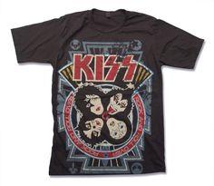 Kiss Rock and Roll Over Handprint T Shirt 70s Studio Album of Heavy metal Hard Rock band Shirt Size S M L XL