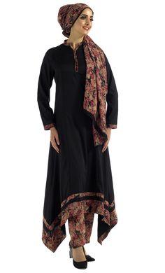 Autumn Shalwar Kameez 3 Piece Set Includes Dress, Pants and Dupatta (Scarf) Princess cut sihlouette, scalloped hem and high neckline. Red/Peach Hues on Trim along  sleeve, neckline and hem