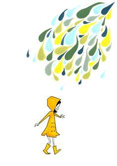 Little yellow raincoat - Art Giclee Print Poster - Mid Century Modern - A4 210 x 297 mm