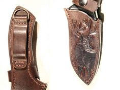 Hunting knife in hand carved leather sheath by LeszekGyver.deviantart.com on @deviantART