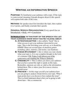 Inform Speech Outline Example  School    Outlines