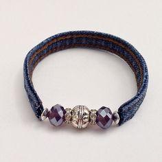 Purple Beaded Denim Wrap Jean Bracelet, Recycled Upcycled Repurposed Wrap Cuff Braclet, Silver Beads Denim Seams by EverydayWomenJewelry on Etsy https://www.etsy.com/listing/238209132/purple-beaded-denim-wrap-jean-bracelet