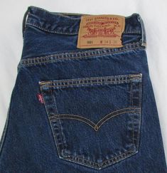 d0497041 Levis Levi's 501 Relaxed Straight Leg Button Fly Dark Wash 100% Cotton 34 X  35