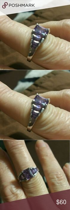 Sterling silver amethyst tier ring Beautiful center emerald cut store with 3 sets of baguettes on the side. Jewelry Rings