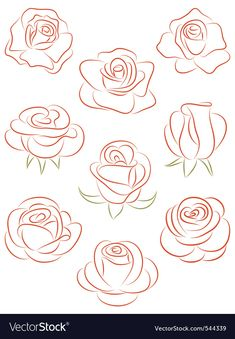 Set of roses. Set of roses. Royalty free set of roses vector illustration stock vector art and more images of abstract - Art Floral, Easy Drawings, Pencil Drawings, Horse Drawings, Images Of Drawings, Pencil Art, Images Photos, Watercolor Flowers, Watercolor Art