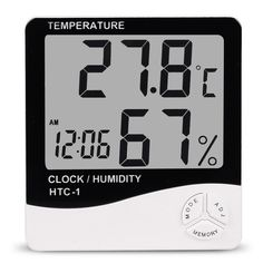 Humidity Measure|Measurement|Indoor Room LCD Electronic Temperature Humidity Meter Digital Thermometer Hygrometer Clock