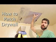 How to Patch Drywall -- this video walks you through step-by-step how to fix a damaged ceiling and get it looking awesome again. You& save a ton of money (use it at Pottery Barn instead)! How To Patch Drywall, Drywall Repair, Casa Clean, Clean House, Diy Projects To Try, Home Projects, Home Fix, Diy Home Repair, Up House