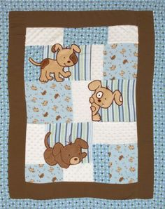 This panel measures 36'' x 45'' and features a pre-quilted design of super soft minky and cotton flannel patches with puppy appliques. This is perfect for a quick baby-blanket project and baby room accessories!