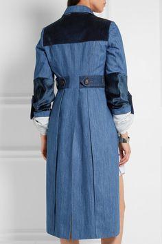 Blue denim, navy velvet Button fastenings through double-breasted front 100%…