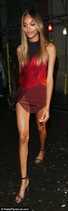 Endless: Jourdan stepped out in a Fringed stretch-cady minidress by Stella McCartney, worth £2,725