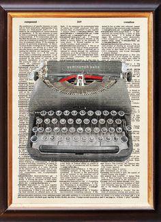 Old Typewriter - Dictionary Art Print - Remington Rand  - Upcycled Vintage Art - 8 x 11