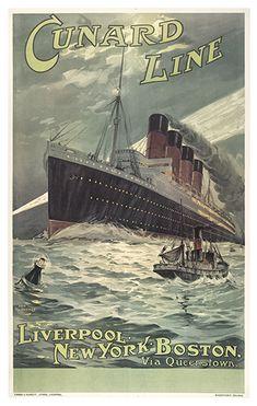 Cunard line - Lusitania - Liverpool - New York - Boston - 1907 - illustration de Odin Rosenvinge -