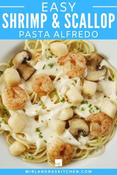 Bay Scallops are the best deal out there and are perfect in pasta! Tasty bay scallops and shrimp are tossed into a simple pasta dish and drizzled with alfredo sauce. Anybody can make this recipe at home for a special meal or just because seafood is wonderful! #seafood #easy #budgetseafood #datenight #pasta Easy Chicken Recipes, Seafood Recipes, Pasta Recipes, Dinner Recipes, Dinner Dishes, Main Dishes, Scallop Pasta, Healthy Dinner Options, Easy Pasta Dishes