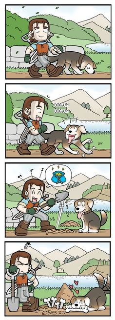 """A funny strip of Fable 2 """"woof! (Dig up! Dig up! Fable Ii, Dad N Me, Dragon Age Inquisition, Anime Comics, Legend Of Zelda, Manga Anime, Video Games, Animation, Double Trouble"""