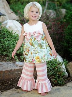 Rose Dress with Pink Stripe Bell Pants by Persnickity