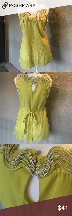 BARASCHI RUFFLED BLOUSE Lemoncella pure, soft cotton. Fully lined, heyhole, covered button rear closure. Self-tie in back, beautiful, stiff ruffles with white piping frame neck and arm holes. Statement piece pairs with dark denim or a pencil skirt. ✨EUC✨ Anthropologie Tops Blouses