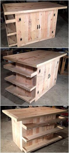 This is a wonderful picture of pallets made kitchen island to show that how we can retransform raw wood pallets into useless kitchen furniture. It is beautifully created pallets project that the basic need of every kitchen and it takes less time to create this pallet project. This pallets kitchen plan has two large-size cabinets and three side wooden shelves.