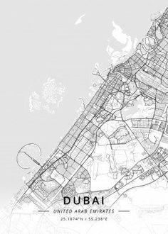Dubai, United Arab Emirates - Light Map Art Print by Designer Map Art - X-Small Poster Prints, Art Prints, Posters, United Arab Emirates, New Artists, Map Art, Cool Artwork, Trees To Plant, Dubai Uae