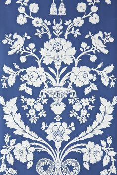 'The St Antoine papers' 18th century blue and white French damask wallpaper