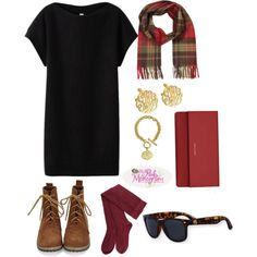 A simple black dress with super cute garnet boot socks, a garnet clutch and a plaid scarf. Completed with gold monogrammed stud earrings and bracelet from The Pink Monogram. Topped off with monogrammed wayfarers!