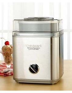 Cusinart Sorbet & Ice cream Maker. Just bought this puppy, on sale at Amazon. Breaking it in tonight with some chocolate peanut butter ice cream.