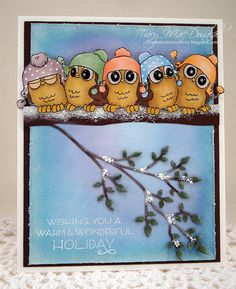 Art Impressions Rubber Stamps: Whoots: 5 Whoots.  Handmade card with owls wearing beanies. holiday, Christmas, winter