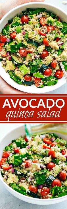 The ultimate POWER SALAD! Great for a detox or simply healthy living! Delicious quinoa, avocado, spinach salad with an amazing lemon dressing via chelseasmessyapron.com