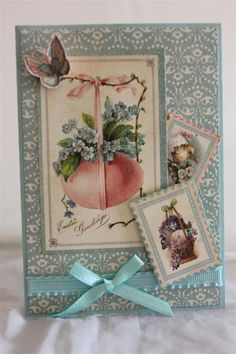 The last one in this series for now, graphic 45 sweet sentiments, an easter card. a bit of fussy cutting, and stampin up cardstock and ribbon - Pool party. Something new tomorrow. It was back to wo...