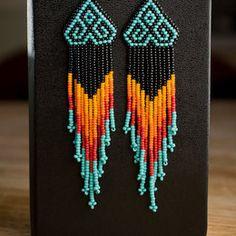 Native American Style Chevron Beaded Earrings by ziguidi on Etsy Native American Earrings, Native American Beadwork, Native American Fashion, Seed Bead Earrings, Beaded Earrings, Angel Earrings, Fringe Earrings, Seed Beads, Beaded Jewelry Patterns