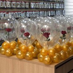 I am LOVING these beauty & the beast themed balloons! How creative! Quince Decorations, Quinceanera Decorations, Balloon Decorations Party, Balloon Centerpieces, Quinceanera Party, Birthday Party Decorations, Birthday Parties, Beauty And Beast Birthday, Beauty And The Beast Theme