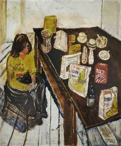 Jean and Table Top (Girl in a Yellow Jumper) - John Bratby Teaching Habitats, John Bratby, William Hogarth, Modern Portraits, A Level Art, Art Database, Gcse Art, Art Uk, Your Paintings