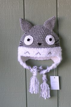 Crochet adult size hat Totoro inspired hat, Anime hat, crochet gray hat on Etsy, $36.00