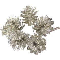 Champagne Glitter Pine Cone Bunch 6 Pieces | Hobbycraft