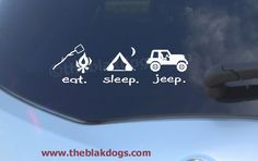 Eat. Sleep. Jeep. Vinyl Car Decal Sticker. $6.00, via Etsy. For Steve and Barbie