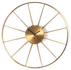 George Nelson&  Associates, Brass Wall Clock for Howard Miller, 1950s.