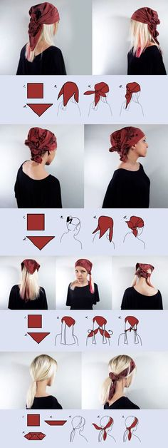 simple ways to wear head #scarf .. How to wear a scarf on your head – 6 easy, #casual ways. The scarf used in examples is a square heavier weight silk scarf called 'Wine red' but you can use pretty much any square scarf to achieve the look. Hope you like it.. #Rannka