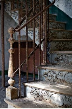 I like the decorative stair risers though I do wonder if I would still like them up close. Part of liking them is imagining detail that might not be there. What is the brown rectangle on the left, silently studying us thru the balustrade? etsy.com