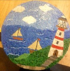 My Lighthouse mosaic theme....using coloured grout