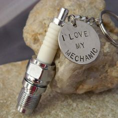 Spark Plug I Love My Mechanic Keychain by WireNWhimsy on Etsy, $38.00