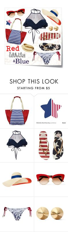 """USA swimwear."" by goldenopal ❤ liked on Polyvore featuring Post-It, Zimmermann, Havaianas, Eugenia Kim, Dolce&Gabbana, Canvas by Lands' End, Eddie Borgo and ruffledswimwear"