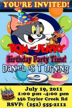 Tom and Jerry Birthday Party Supplies Boys Birthday Party