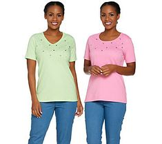 Quacker Factory Set of Two Stars and Studs Short Sleeve T-shirts