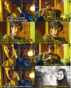 """What's her name?""  ""Clara.""  (the-iou-apple tumblr) Doctor Who meets with Sherlock"