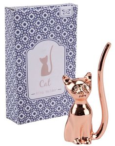Keep your rings safe and display them with this metal copper Cat Ring Holder. #catlover #ringholder #jewelrystorage