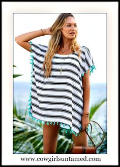 WILDFLOWER COVERUP Blue Striped Aqua Tassel White Oversized Boho Cover Up / Top  #top #shirt #blouse #striped #pompom #ethnic #gypsy #boho #coverup #fashion #beachwear #summer #cowgirl #western #boutique